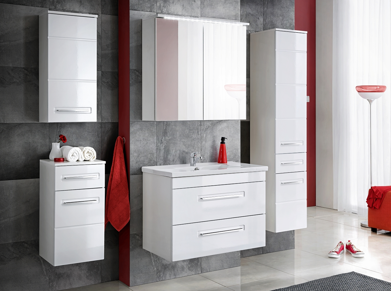 Badm belset weiss active badschrank mit waschbecken 80 for Badschranke mit waschbecken